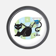 Cocktail Kitty Wall Clock