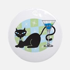 Cocktail Kitty Ornament (Round)