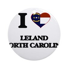 I love Leland North Carolina Ornament (Round)