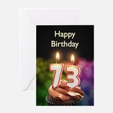 73rd birthday, Candles on a birthday cake Greeting