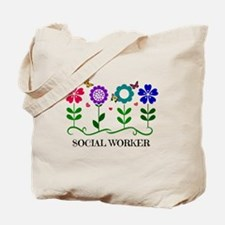 Social Worker, Flowers and Butterflies an Tote Bag