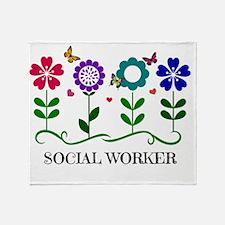 Social Worker, Flowers and Butterfli Throw Blanket