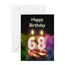 68th birthday, Candles on a birthday cake Greeting