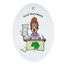 Social Work Month Desk Oval Ornament