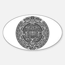 mayan calender dark Oval Decal