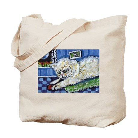White Persian Cat plays w ball Tote Bag