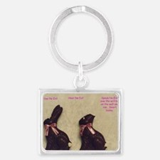 Cute Rabbit easter bunny chocolate make mine chocolate Landscape Keychain