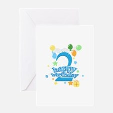 2nd Birthday with Balloons - Blue Greeting Card