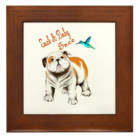 Bull Dog Puppy and Hummingbir Framed Tile