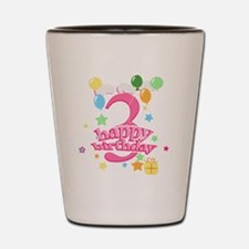 3rd Birthday with Balloons - Pink Shot Glass