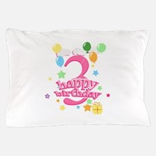 3rd Birthday with Balloons - Pink Pillow Case