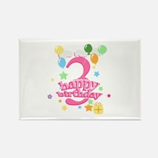 3rd Birthday with Balloons - Pink Rectangle Magnet