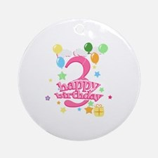 3rd Birthday with Balloons - Pink Ornament (Round)