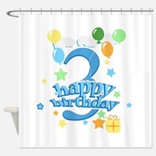 3rd Birthday with Balloons - Blue Shower Curtain