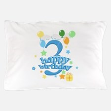 3rd Birthday with Balloons - Blue Pillow Case
