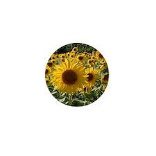 sunflower field close Mini Button