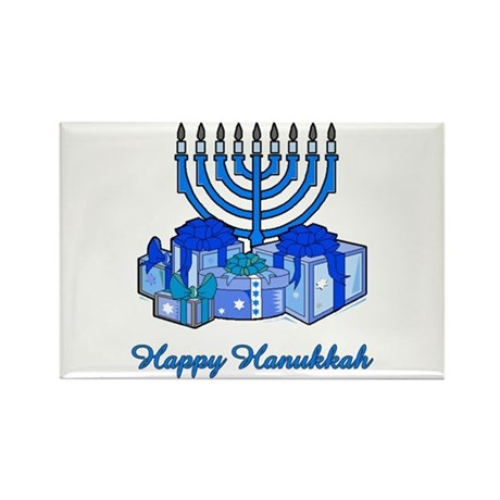 Menorah and Gifts Rectangle Magnet (10 pack)