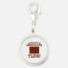 I Could Give Up Chocolate Silver Round Charm