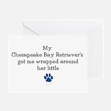 Wrapped Around Her Paw (Chesapeake) Greeting Card