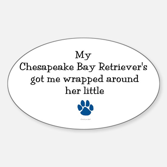 Wrapped Around Her Paw (Chesapeake) Oval Decal