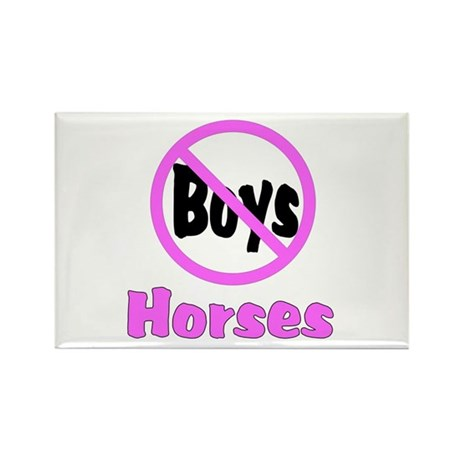 No Boys - Horses Rectangle Magnet (100 pack)