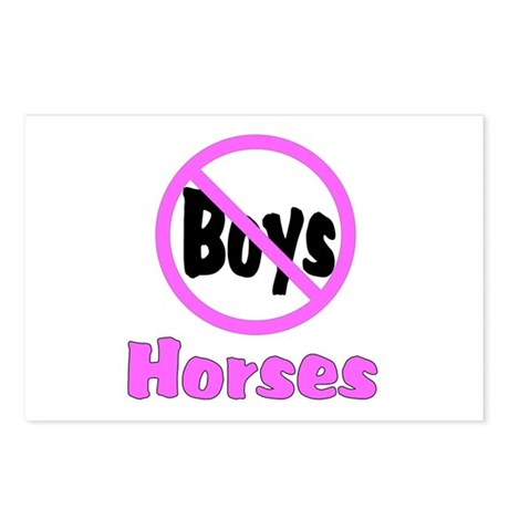 No Boys - Horses Postcards (Package of 8)