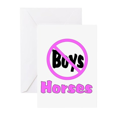No Boys - Horses Greeting Cards (Pk of 20)