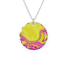 neon fuchsia yellow swirls Necklace