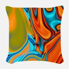 turquoise orange swirls Woven Throw Pillow