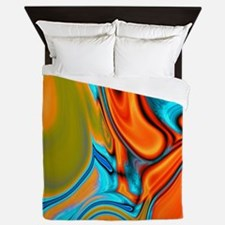 turquoise orange swirls Queen Duvet