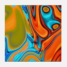 turquoise orange swirls Tile Coaster