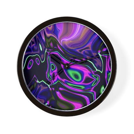 Liquid Green Purple Swirls Wall Clock By Listing Store