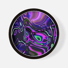 liquid green purple swirls Wall Clock