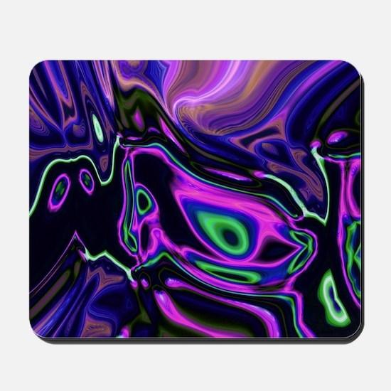 liquid green purple swirls Mousepad