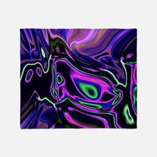 liquid green purple swirls Throw Blanket