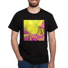neon fuchsia yellow swirls T-Shirt