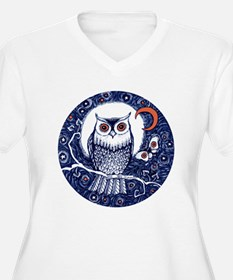 Blue Owl with Moon Plus Size T-Shirt