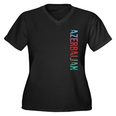 Azerbaijan Women's Plus Size V-Neck Dark T-Shirt