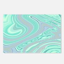 cute grey mint swirls Postcards (Package of 8)