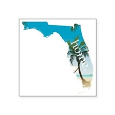 "Florida Home Palm Tree Beac Square Sticker 3"" x 3"""
