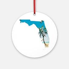 Florida Home Palm Tree Beach Round Ornament