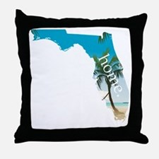 Florida Home Palm Tree Beach Throw Pillow