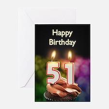 51st birthday, Candles on a birthday cake Greeting