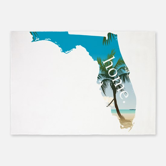 Florida Home Palm Tree Beach 5'x7'Area Rug