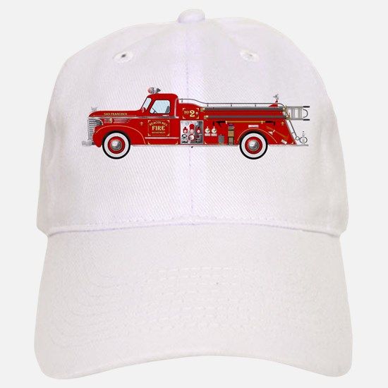 Vintage red fire truck drawing Baseball Baseball Cap