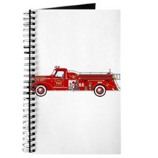 Vintage red fire truck drawing Journal