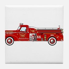 Vintage red fire truck drawing Tile Coaster