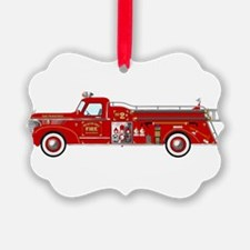 Vintage red fire truck drawing Ornament