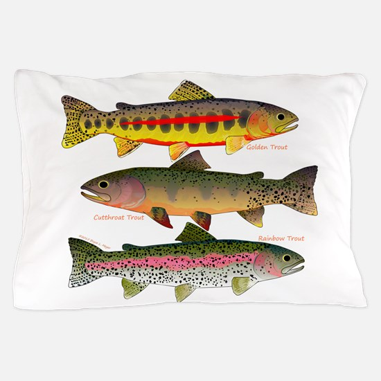 3 Western Trout Pillow Case