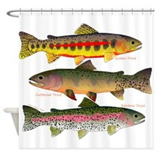 3 Western Trout Shower Curtain